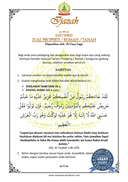 IJAZAH ILMU WIRID - JUAL PROPERTI